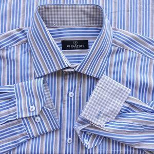 Bugatchi Mens Striped Shirt MINT Size XL Cotton